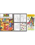 CREATIVE JUNGLE gyermek kifestő feladványokkal és MATRICA melléklettel + 12 db-os dupla (24 szín) színes ceruzával. Színezz és oldj meg furfangos fela - ÜGYV, SZERV Kft