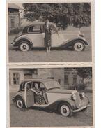 2 darab korabeli fotó egy Mercedes-Benz 170V típusú személygépkocsiról