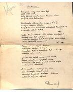 Szikince című vers kézirata - Bányai Kornél