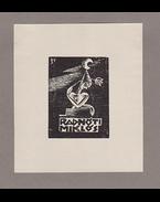 Radnóti Miklós Ex librise. Buday György grafikusművész alkotása, jelezve a nyomtatvány bal felső sarkában. Készült 1935 körül. - Buday György