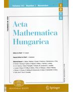 Acta Mathematica Hungarica Volume 141. Number 3. November 2013 - Császár Ákos