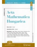 Acta Mathematica Hungarica Volume 141. Numbers 1-2. October 2013 - Császár Ákos