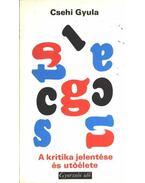 A kritika jelentése és utóélete - Csehi Gyula