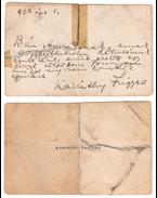 Karinthy Frigyes saját kézzel írt, személyes hangú üzenete egy hölgyismerősének, az író saját névjegykártyájának hátoldalán. - Karinthy Frigyes