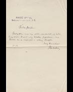 Radó Antal (1862–1944) író, költő saját kézzel írt levele Kárpáti Aurél (1884–1963) író, szerkesztőnek a szerkesztő rádióelőadásai kapcsán - Radó Antal