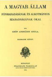 A magyarállam fönmaradásának és alkotmányos szabadságának okai III. - Andrássy Gyula - Régikönyvek