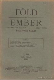 Föld és ember 1930. X. évf. 1. szém - Kogutowicz Károly - Régikönyvek