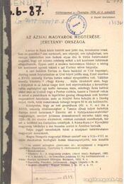 Az ázsiai magyarok megtérése - Jeretány országa - Bendefy László - Régikönyvek