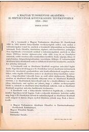 A Magyar Tudományos Akadémia II. osztályának könyvkiadási tevékenysége 1950-1965 - Ember Győző - Régikönyvek