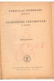 Szabványos vényminták - Dr. Fritz Gusztáv - Régikönyvek