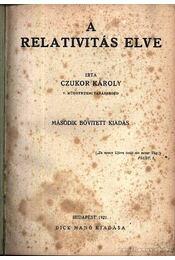A relativitás elve - Czukor Károly - Régikönyvek