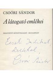 A látogató emlékei - Csoóri Sándor - Régikönyvek