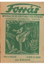 Forrás 1944. május II. évfolyam 5. szám - Szombathy Viktor - Régikönyvek