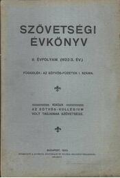 Szövetségi Évkönyv II. évf. (1922/3. év.) - Régikönyvek