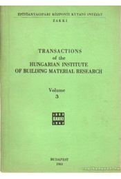 Transactions of the Hungarian institute of bulilding material research volume III. - Régikönyvek
